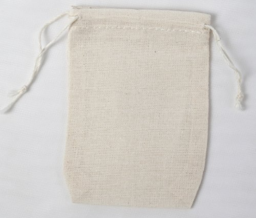 - 2.75x4 Inch Double Drawstring Cotton Muslin Bags 50 Count Pack
