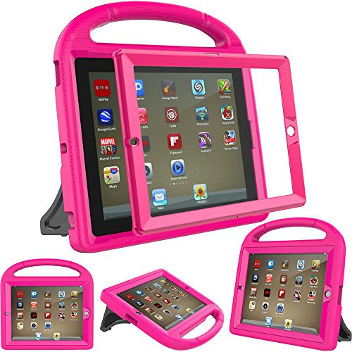 eTopxizu Waterproof Case Light Weight Kids Case For Apple iPad 4, iPad 3 & iPad 2 2nd 3rd 4th Generation,iPad 2 3 4 Shockproof Case Super Protection Cover Handle Stand Case for Children - Rose Pink