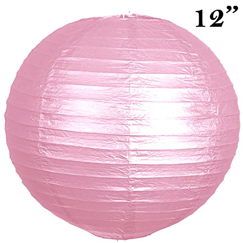 BalsaCircle 12 pcs Pink 12-Inch Tall Paper Shades Lanterns - Lamp Wedding Event Birthday Party Room Home Decorations Supplies (For Sale Table Buffet Chinese)
