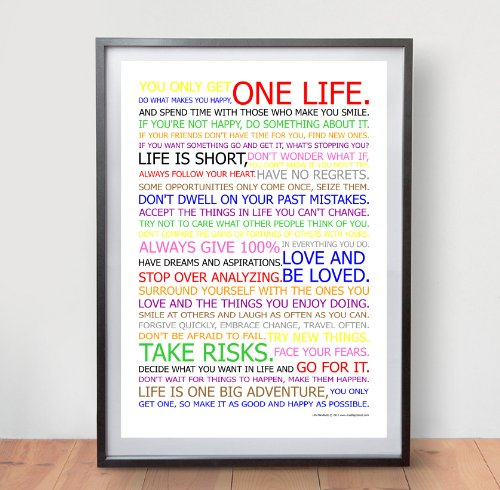 Life Manifesto Poster - In Color - Motivational Quote Wall Art Picture Print - Size A2 (420 X - Y Start That Famous Brands With
