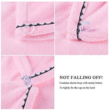 per vasca da bagno Elegante asciugamano Yay in morbida microfibra ad asciugatura rapida assorbente doccia rosa asciugamano con bottone per tutti i tipi di capelli e lunghezze