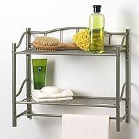Creative Bath Products - Organizador de pared de estante de la colección completa 2 con barra de toalla, acabado níquel perlado