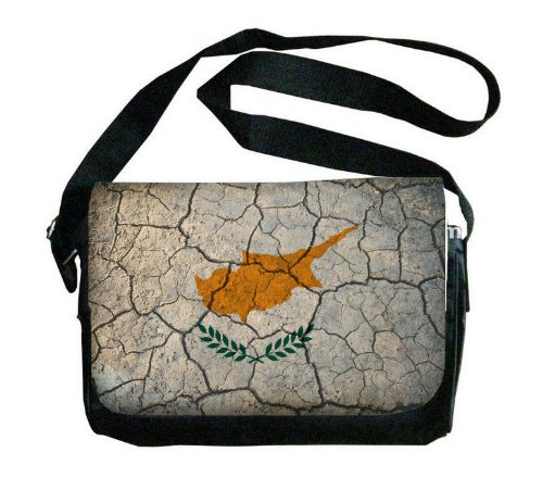 Cyprus Flag Crackled Design Messenger Bag