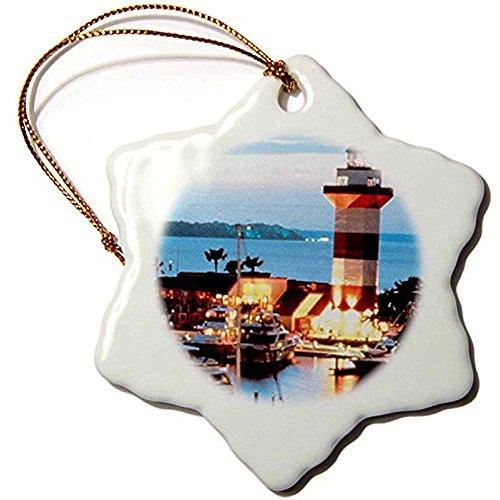 Bowen Rhodes Harbor Town Lighthouse At Hilton Head Island At Dusk Snowflake Decorative Hanging Ornament, Porcelain, 3-Inch