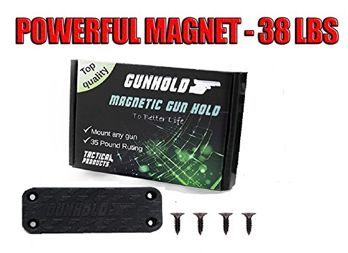 Magnetic Gun Mount & Car Holster - Rubber Coated 38 Lbs Rated - Firearm Accessory.