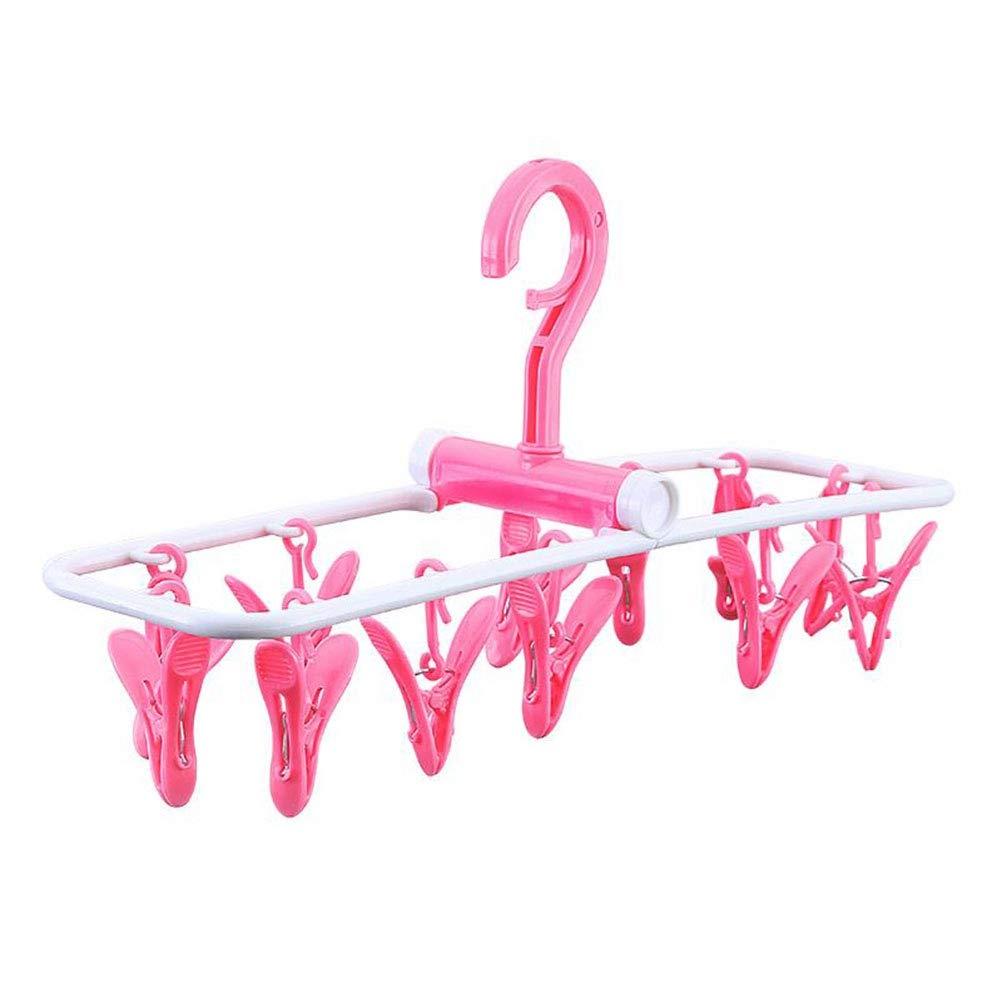 OUNONA Cintre à Linge à Clip Pinces à Linge et égouttement Pliable avec 12 Crochets de Suspension à Clip à Suspendre (Rose)