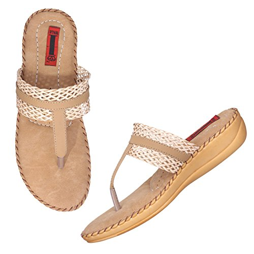 51%2BA4Qlx9hL. SS500  - 1 Walk Comfortable Synthetic Leather Doctor Sole Women's Flats - Beige