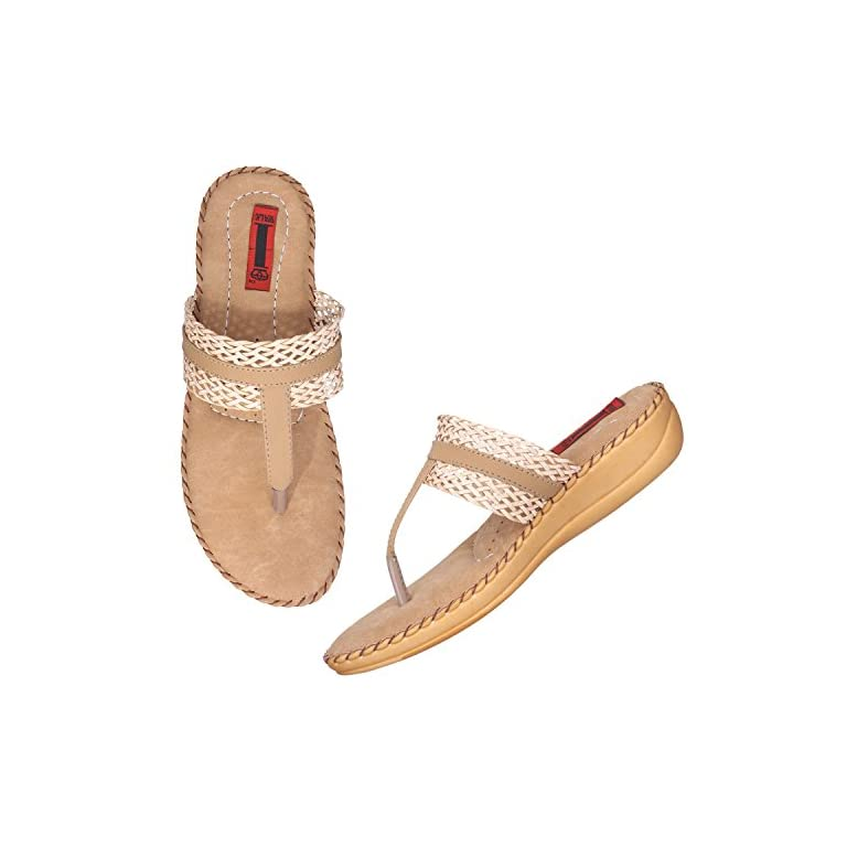51%2BA4Qlx9hL. SS768  - 1 Walk Comfortable Synthetic Leather Doctor Sole Women's Flats - Beige
