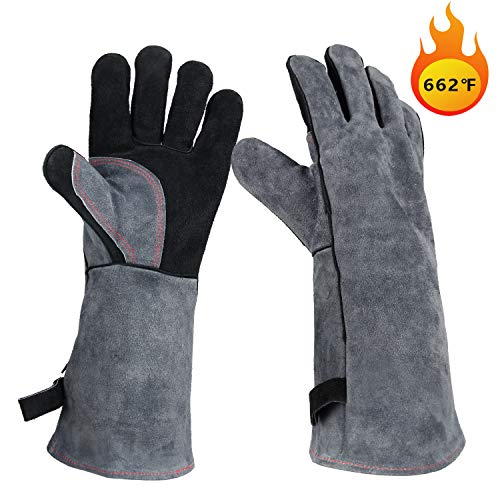 OZERO Leather Welding Gloves Full Protection & Extreme Heat Resistant 662℉, Insulated BBQ/Oven Baking/Meat Grilling/Barbecue Gloves - Heat Resistant Leather