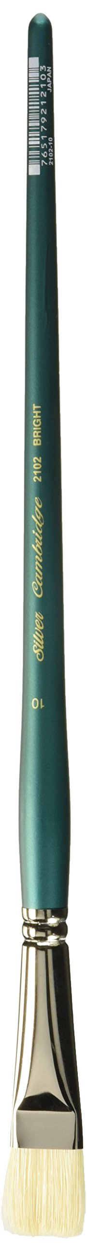 Silver Brush 2102-10 Cambridge White Bristle and Synthetic Long Handle Filament Blend Brush, Bright, Size 10