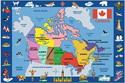 Amazon.com: Fun Time   Map of Canada Kids Rugs   63 x 90 in