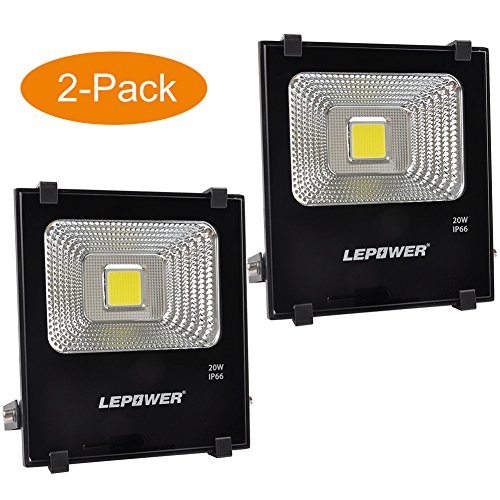 LEPOWER 2 Pack 20W LED Flood Light, Super Bright Outdoor Work Light, 100W Halogen Bulb Equivalent, IP66 Waterproof, 6500K,1600lm, Outdoor Led Lights(Daylight White 2-Pack) by LEPOWER