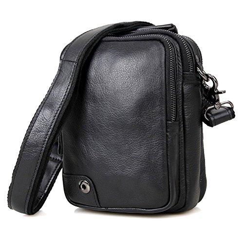 Clean Vintage Mens Leather Messenger Bag / Crossbody Shoulder Bag