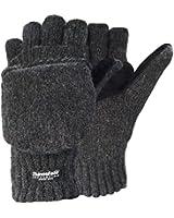 Korlen Wool Knitted Convertible Fingerless Gloves with Mitten Cover