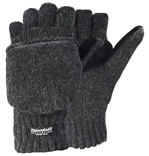 Korlon-Wool-Knitted-Convertible-Fingerless-Gloves-with-Mitten-Cover-Dark-Gray
