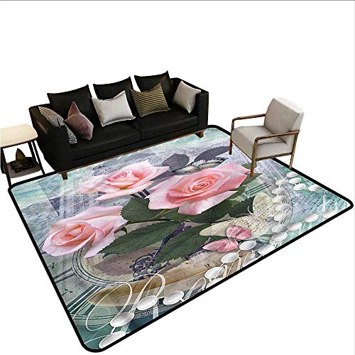 Aubusson Rose - Pearls,Large Floor Mats for Living Room 80