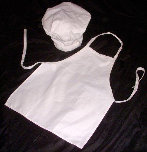 Kids White Chef Apron and Hat Set Child Size