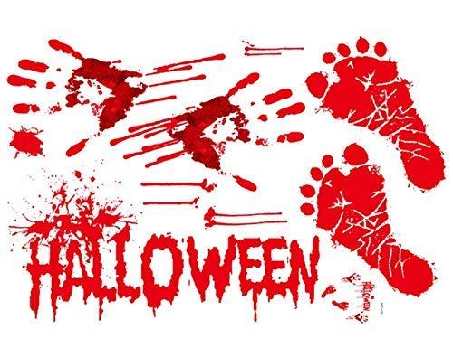 Halloween Bloody Handprints & Footprints Vampire Zombie Party Decorations - Halloween Party Decals Stickers Supplies for Wall/Door/ Floor/Car