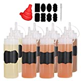 Benail 8 Pack 12 oz Plastic Squeeze Squirt Condiment Bottles Twist On Cap Lids - Perfect Condiments, Oil, Icing, Liquids–Set of 8 Extra 1 Silicone Funnel, 8 Chalk Labels 1 Pen