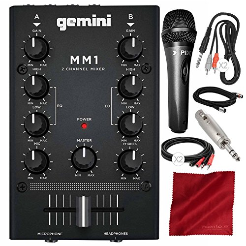 Stereo Headphone Gemini (Gemini MM1 2-Channel Compact Mixer with Xpix Studio Condenser Microphone, Cables, and Deluxe Bundle)