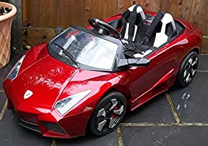 kids 2 seater lamborghini style sports car with remote control 12v electric battery ride on car red lambo