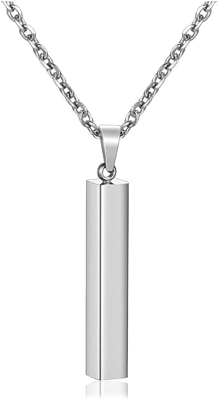 PiercingJ 4 Side Engraving Personalized Custom Message Name Bar Necklace Stainless Steel Pendant Chain for Men Women Box