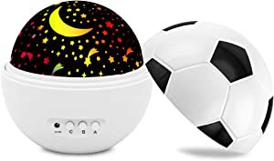 Kids Night Light Star Projector Lamp with 360 Degree Rotating & 4 LED Bulbs 7 Lighting Modes for Boys and Girls Room - White
