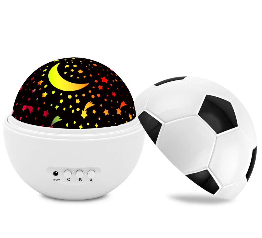 Newest Night Lights Star Projector Multiple Colors Soccer 360 Degree Rotating Best Star Sky Night Lamp for Kids and Baby Bedroom,Decorating Birthday (White)