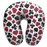 Gtrgh Cool Poker Playing Cards Pattern Super U Type Pillow Neck Pillow Outdoor Travel Pillow Relief Neck Pain