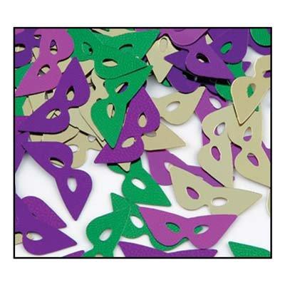 Fanci-Fetti Mardi Gras Masks (asstd gold, green, purple) Party Accessory  (1 count) (1 Oz/Pkg) (Mardi Gras Decorations New Orleans)