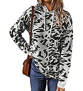 ROSKIKI Womens Fashion Leopard Printed Long Sleeve Hooded Sweatshirts Sweaters