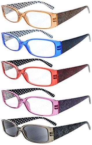 (Eyekepper 5-Pack Spring Hinges Polka Dots Patterned Temples Reading Glasses Includes Sunshine Readers Women +3.0)