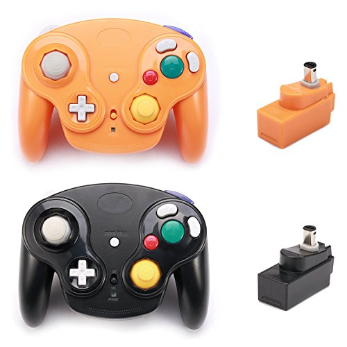 Poulep 2 Packs Classic 2.4G Wireless Controllers Gamepad with Receiver Adapter for Nintendo Wii U Gamecube NGC GC (Black and Orange) ()
