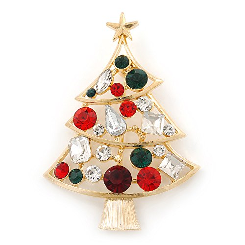 Austrian Crystal Christmas Tree - Holly Jolly Red, Green, Clear Austrian Crystals Christmas Tree Brooch In Gold Plating - 65mm Length