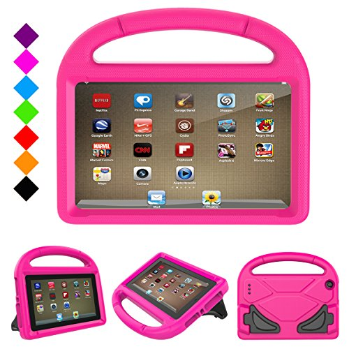 Fire 7 2017 Kids Case, Fire 7 2015 Kids Case - DiHines Light Weight Shock Proof Handle Friendly Stand Kid-Proof Case for All New Amazon Fire 7 inch Display Tablet Cover(2015&2017 Release) (Pink)
