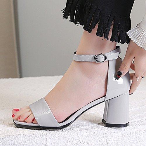 pies y cm mujer Heels zapatos AJUNR los Moda 7 35 seis de dedos de de Sandalias hebillas tacon rough Grey Treinta Light elegante Zapatos Transpirable alto w07qwgT