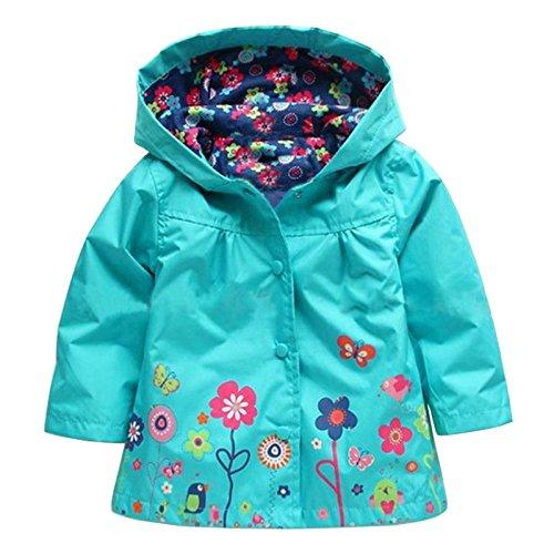 Wennikids Baby Girl Kid Waterproof Floral Hooded Coat Jacket Outwear Raincoat Hoodies Small -