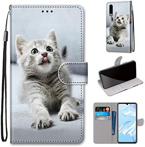 Miagon Flip PU Leder Schutzhülle für Huawei P30,Bunt Muster Hülle Brieftasche Case Cover Ständer mit Kartenfächer Trageschlaufe,Grau Katze