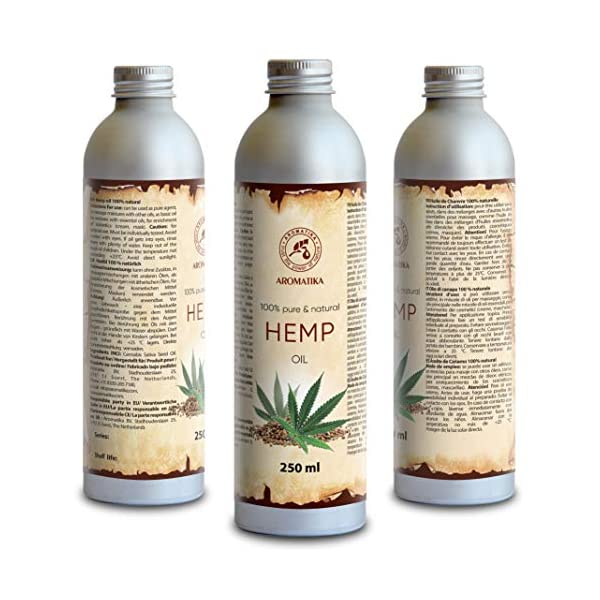Hemp Oil 250ml – Cannabis Sativa Seed Oil – 100% Natural & Pure Cold Pressed Carrier Oil – Used for Skin Care – Haircare – Massage – Cosmetics – Aluminum Bottle – Oils Hemp
