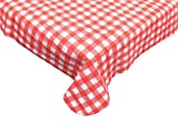 Waterproof Spill Proof Vinyl Check Plaid Tablecloth with Flannel backing, 52x70'', Perfect for Spring, Summer, Farmhouse Décor, Outdoor Picnics & Potlucks Party or Everyday Use-Red/White