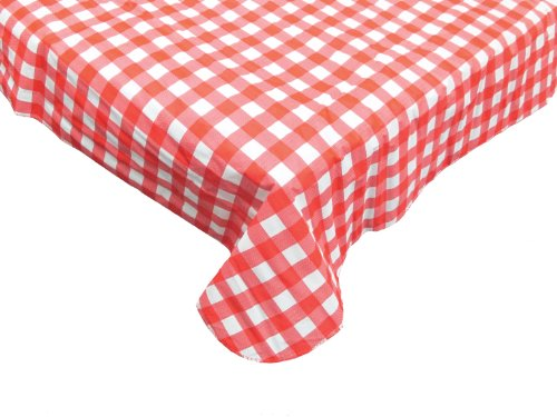 J & M Home Fashions Carton Round Vinyl Tablecloth, 60-Inch, Red Check, Pack of 24 by J&M Home Fashions