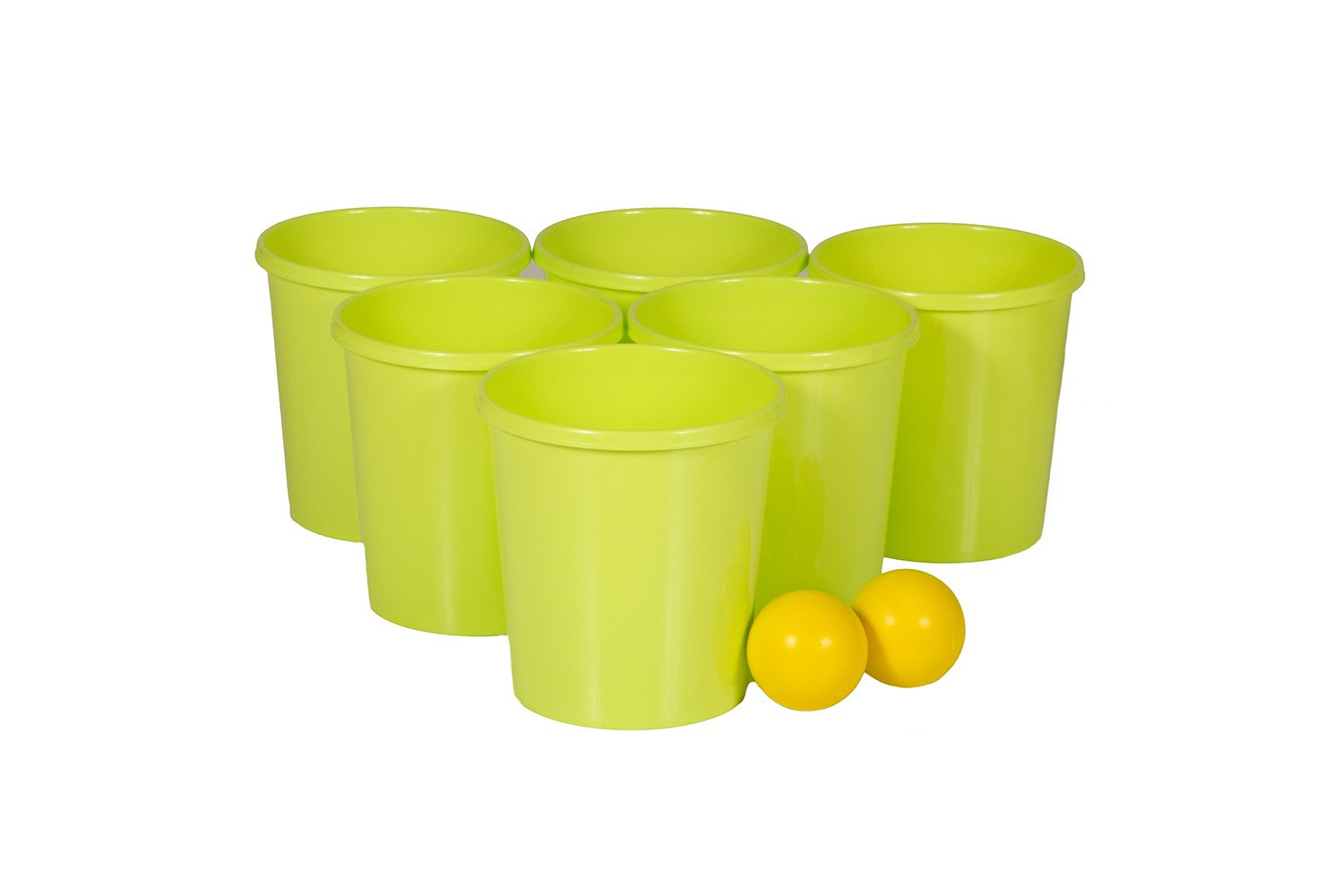 Get Out! Patio Pong – Giant Yard Beer Pong Set for Outdoor Fun – 12 Buckets, 2 Balls, 1 Drawstring Carrying Bag by Get Out! (Image #4)