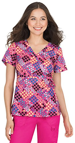 KOI Prints Women's Kathryn Mock Wrap Geometric Print Scrub Top Small Print