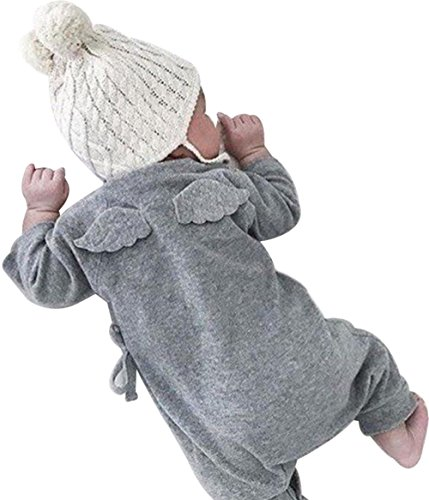 LOTUCY Newborn Baby Boys Girls Cute Angel Wings Cotton Romper Jumpsuit Outfit Clothes Size 12-18Monthes/Tag90 (Gray)]()