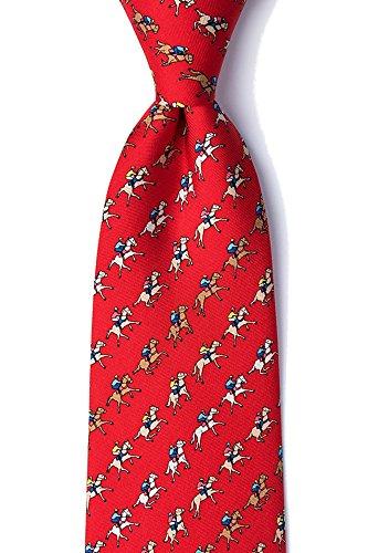 Kentucky Derby Jockey Silks - Men's 100% Silk Red Equestrian Horse Racing Win Place Show Neck Tie Necktie Neckwear