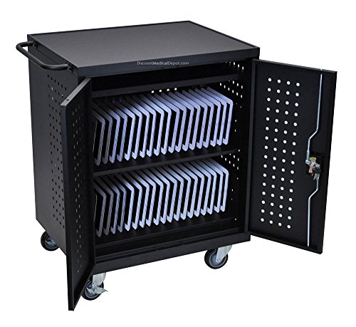 DMD Deluxe Mobile Charging and Storage Cart, Multiple iPad, Tablet, and Notebook Charging Station with Locking Security Cabinet, Stores up to 42 Mobile Devices by Discount Medical Depot LLC
