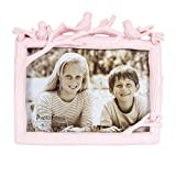 HONEYJOY 3D Photo Frame Birds Tree Desktop Horizontal Animal Resin Vintage Texture Beautiful Ornament Stand with Glass Front for Table Top Desk Home Office Decor - Display 6x4 Inch Picture (Pink)
