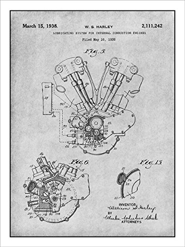1936 Harley Davidson Knucklehead Engine Motorcycle Patent Print Art Poster Unframed Gray