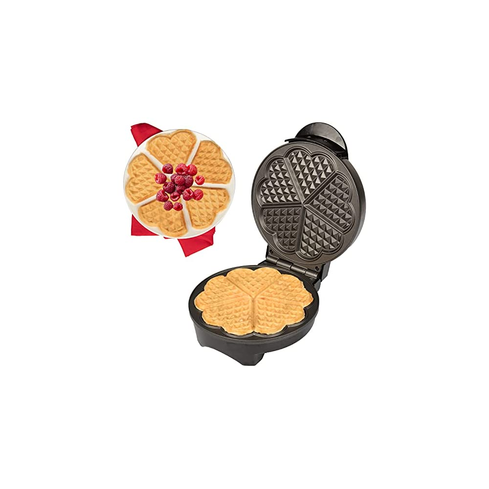 Heart Waffle Maker - Non-Stick Waffle Griddle Iron with Browning Control - 5 Heart-Shaped Waffles, Great for Mother's…