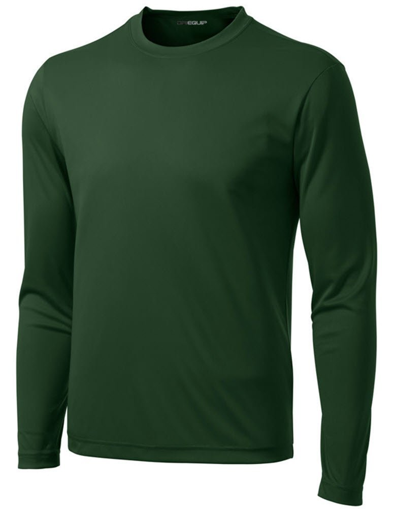 DRI-Equip Tall Long Sleeve Moisture Wicking Athletic Shirt-ForestGreen-LT by Joe's USA
